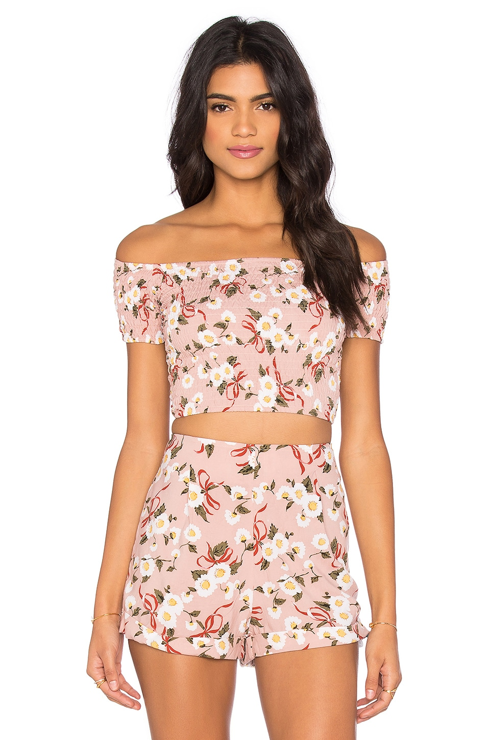 Motel Maribelle Top in Pink Daisy Ribbon