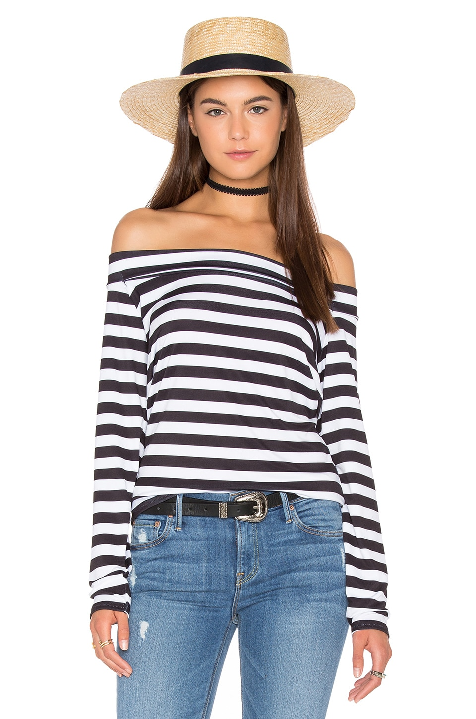 Motel Bry Top in BW Stripe
