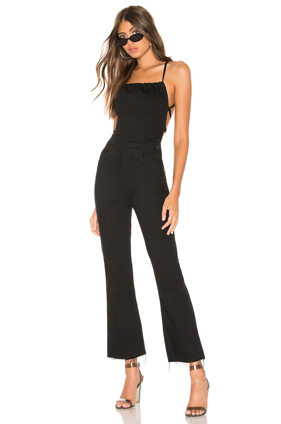 MOTHER The Tie Back Hustler Ankle Fray Jumpsuit in Not Guilty