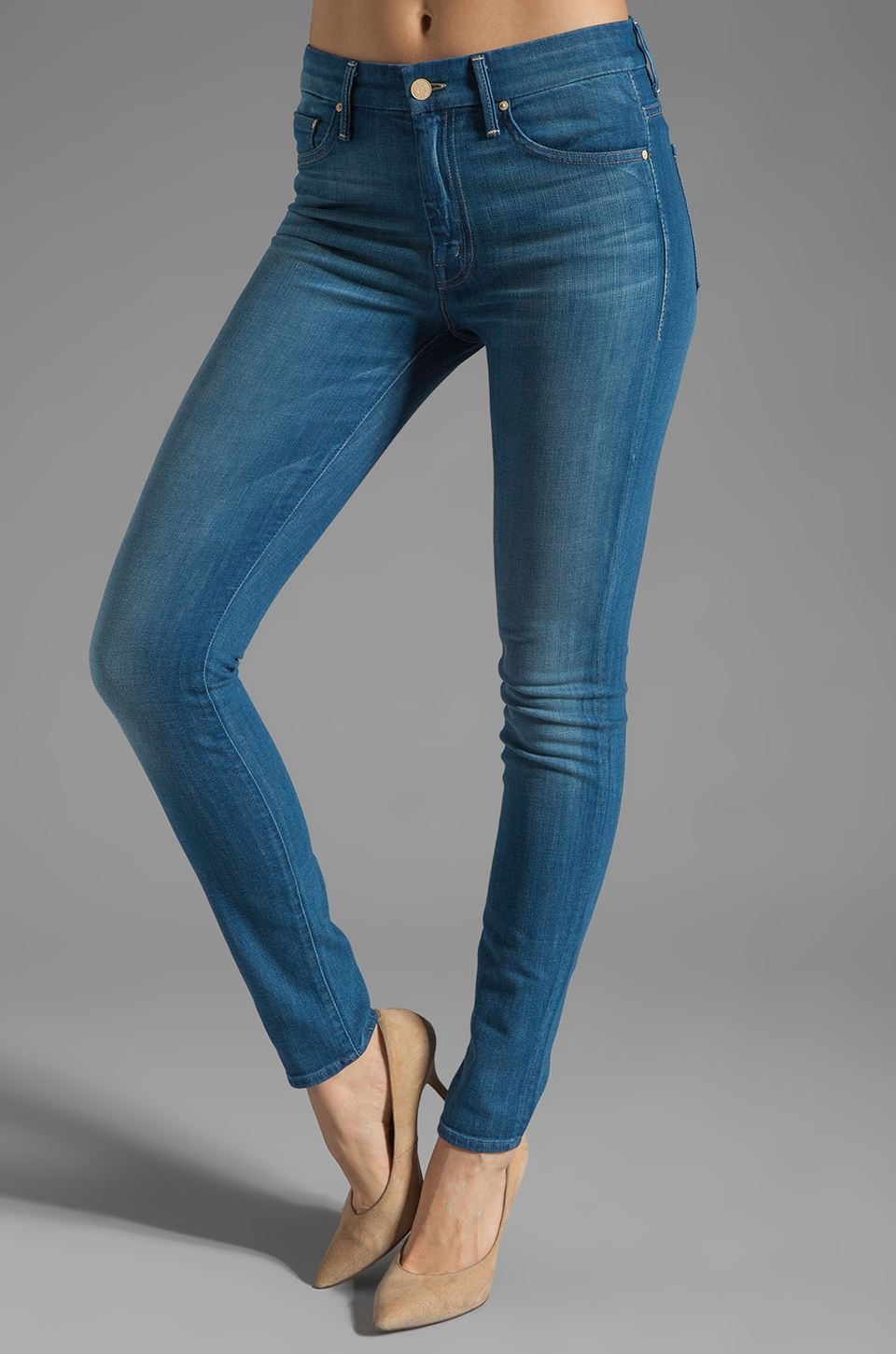 MOTHER High Waisted Looker Skinny in Pale Rider
