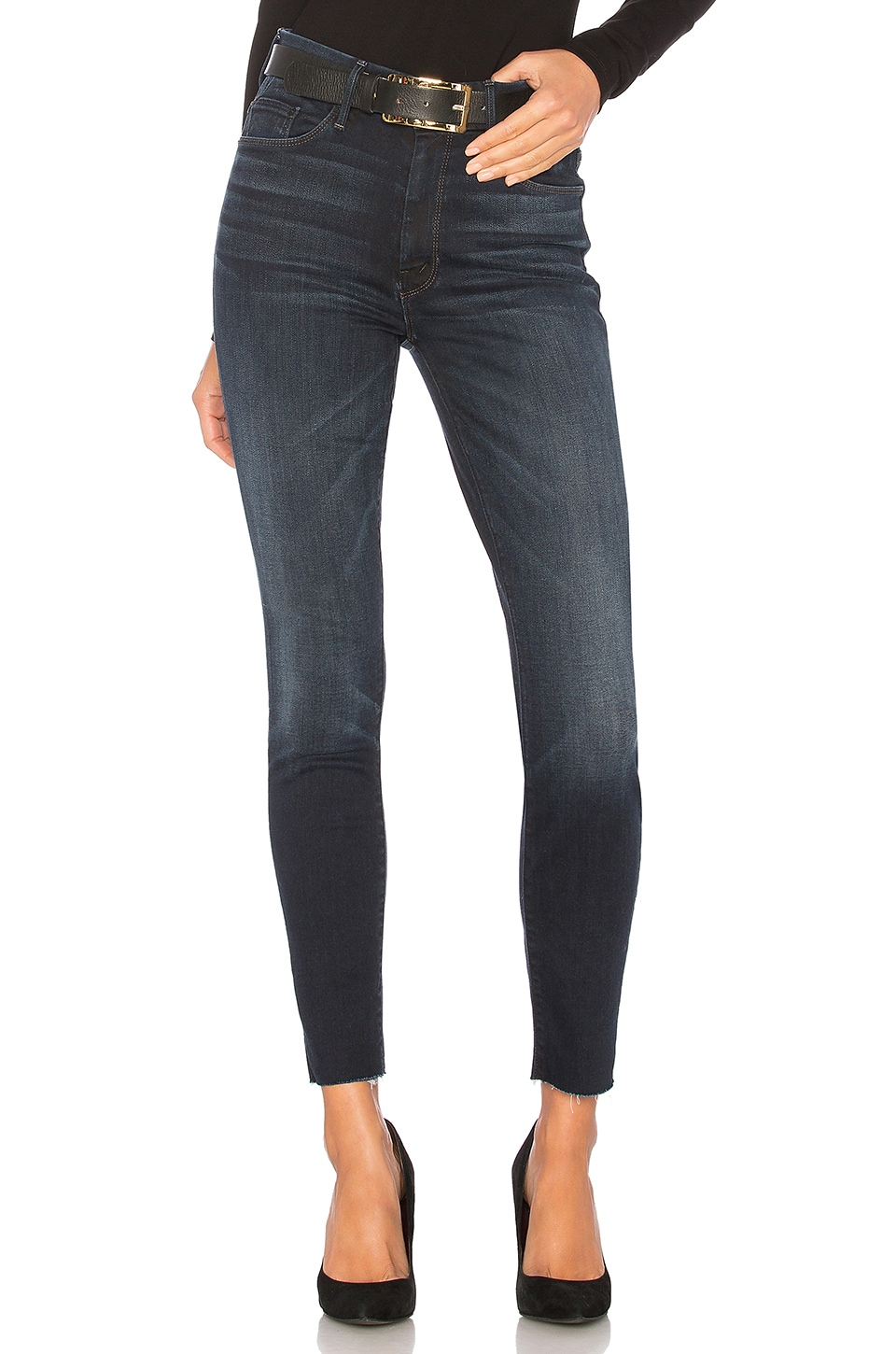 MOTHER High Waisted Looker Ankle Fray in Night Owl