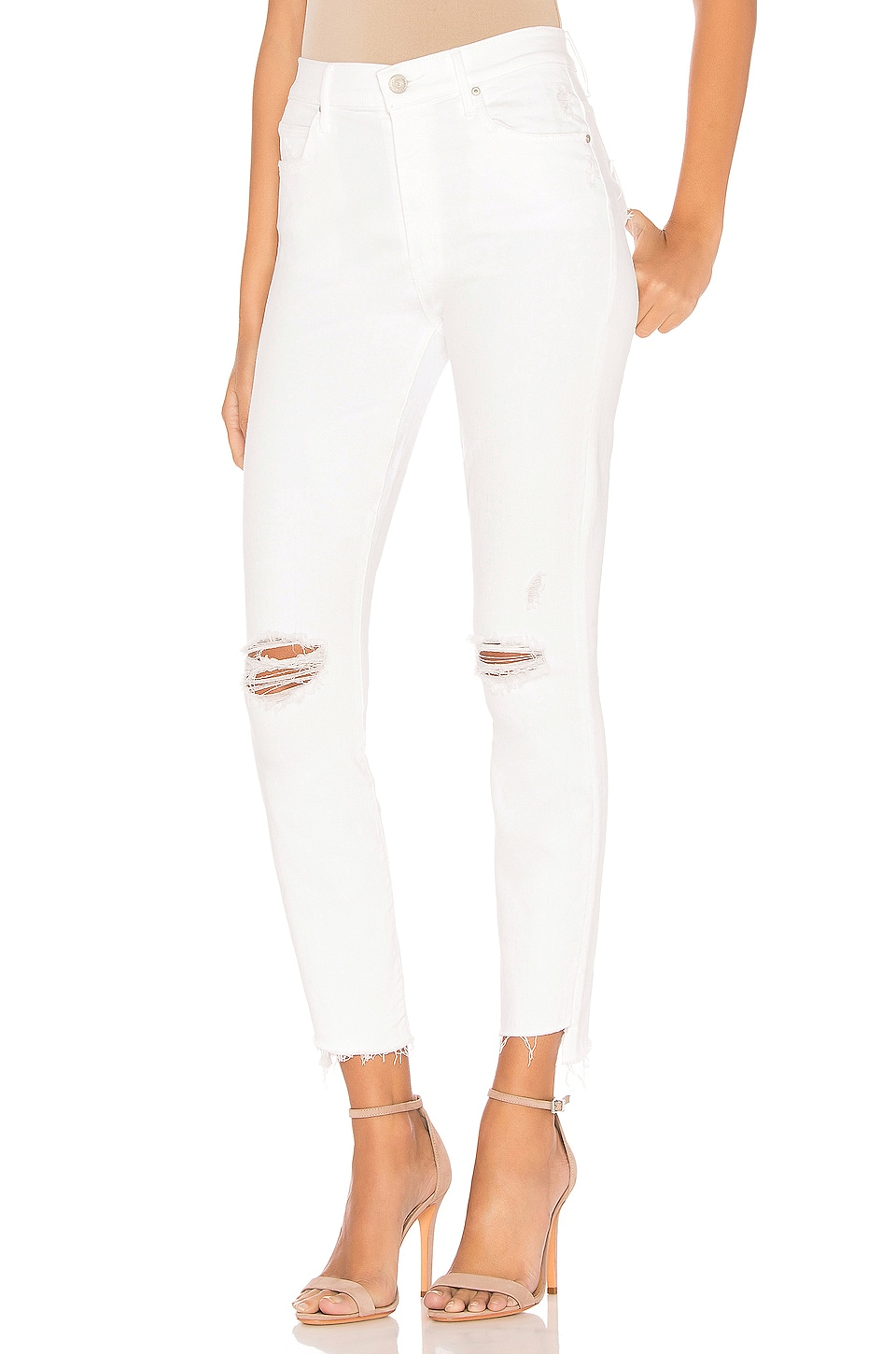 MOTHER Stunner Zip Ankle Step Fray Jean in Little Miss Innocent