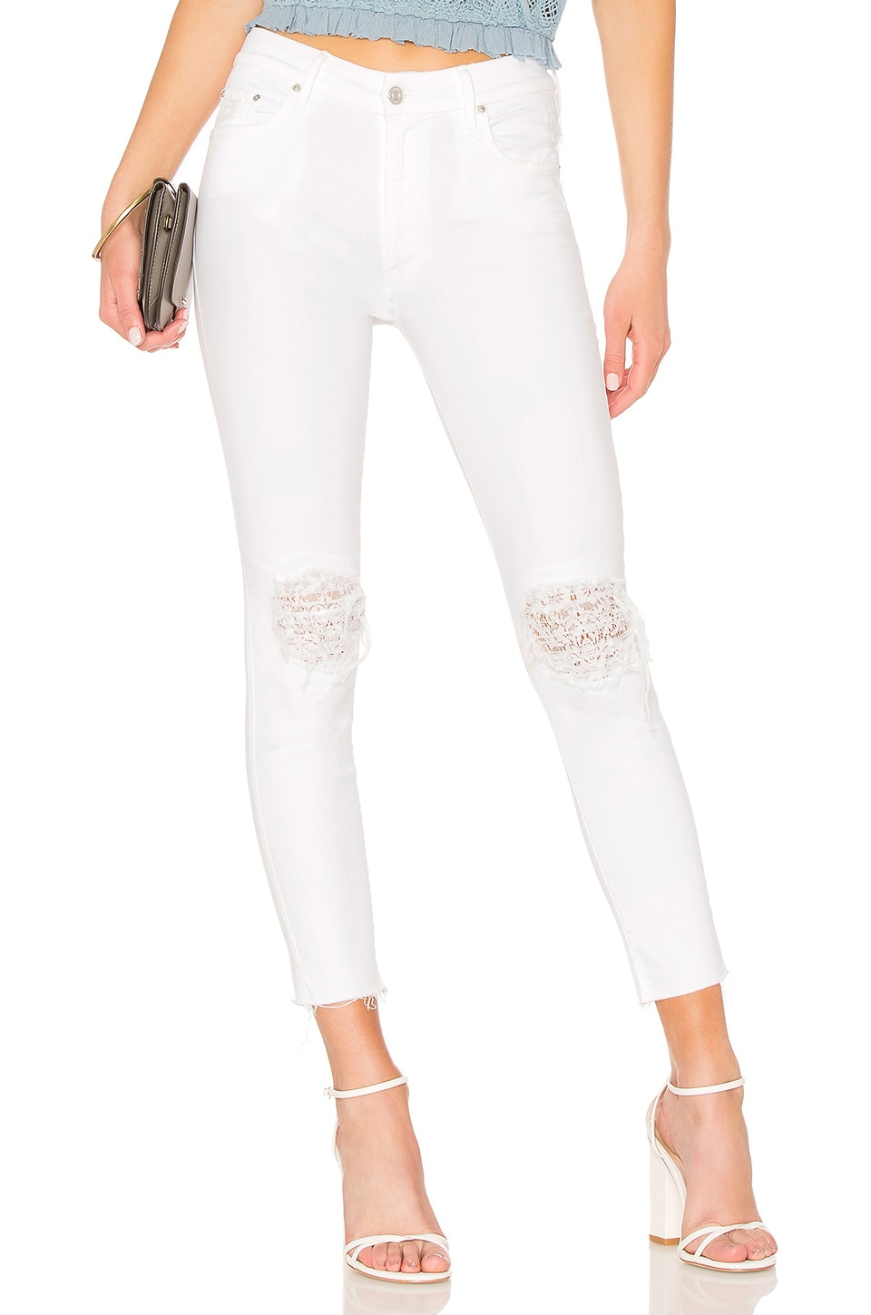 High Waisted Looker Ankle Lace Fray Jean
