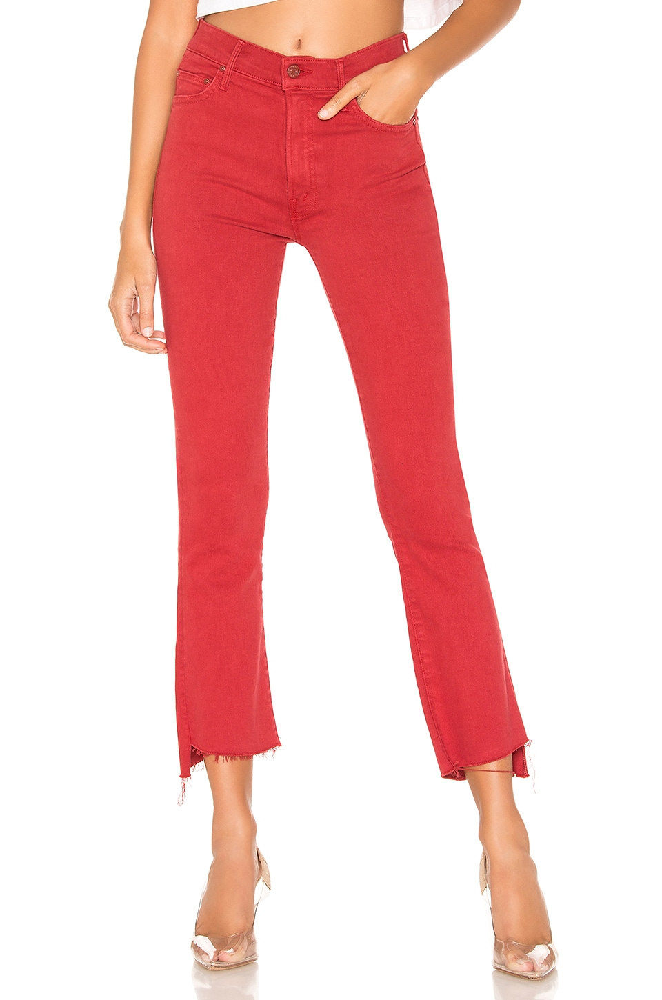 MOTHER The Insider Crop Step Fray in Hot Rod Red