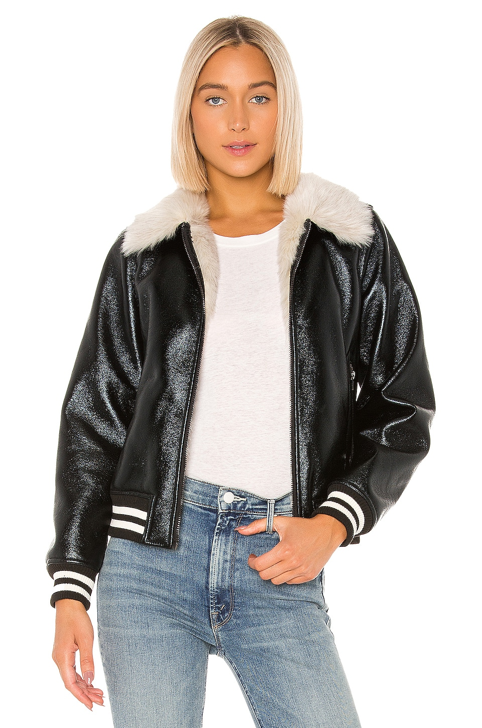 MOTHER The Faux Fur & Vegan Leather Moto Jacket in Whiskey Lullaby