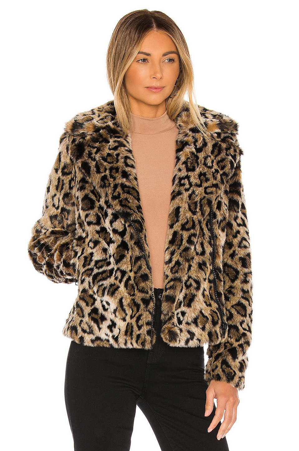 MOTHER The Mini Pocket Rider Faux Fur Jacket in Revved Up