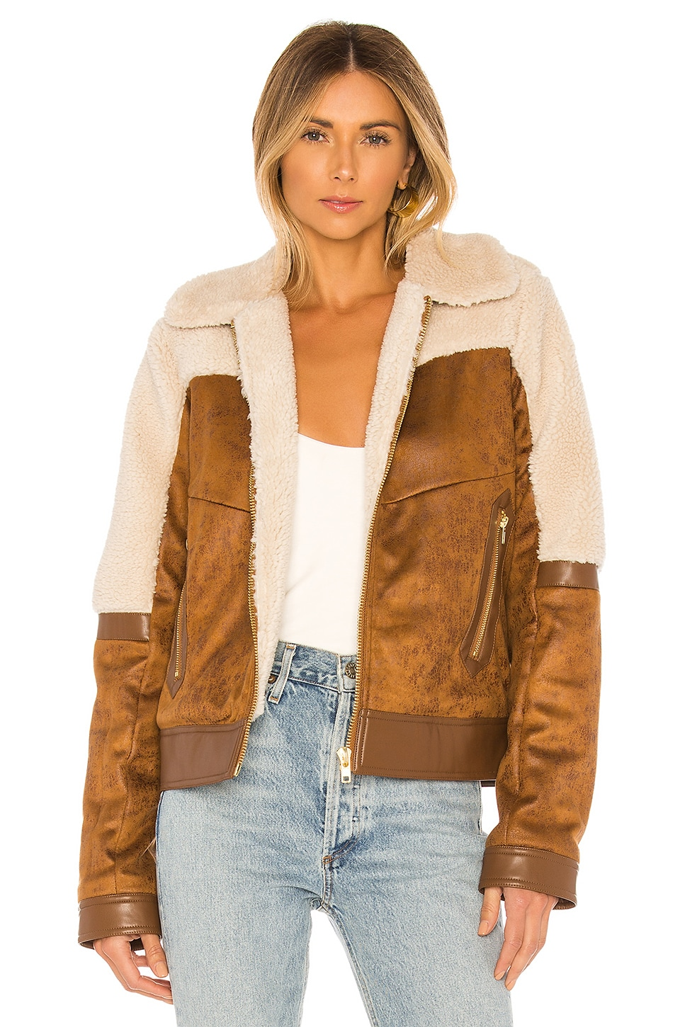 MOTHER Faux Fur & Vegan Leather The Trapper Keeper Jacket in Fair Weather