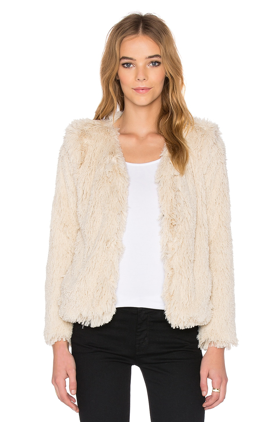MOTHER The Boxy Faux Fur Jacket in Cry Wolf