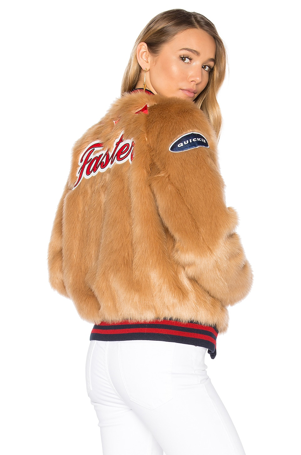 MOTHER The Letterman Patch Faux Fur Jacket in The Fast and The Curious