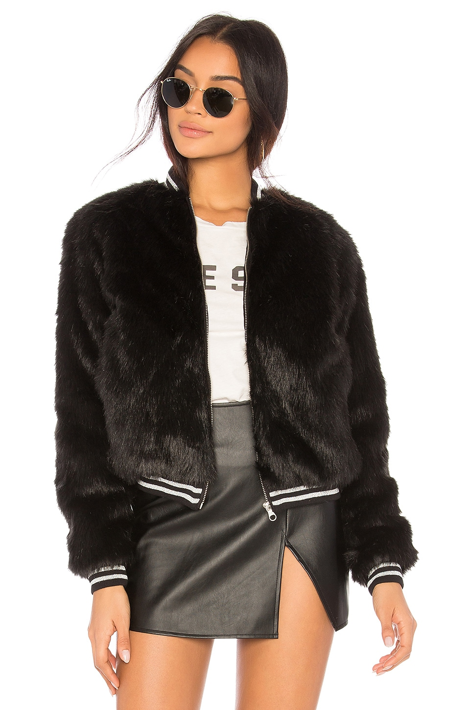 MOTHER The Letterman Faux Fur Jacket in Black
