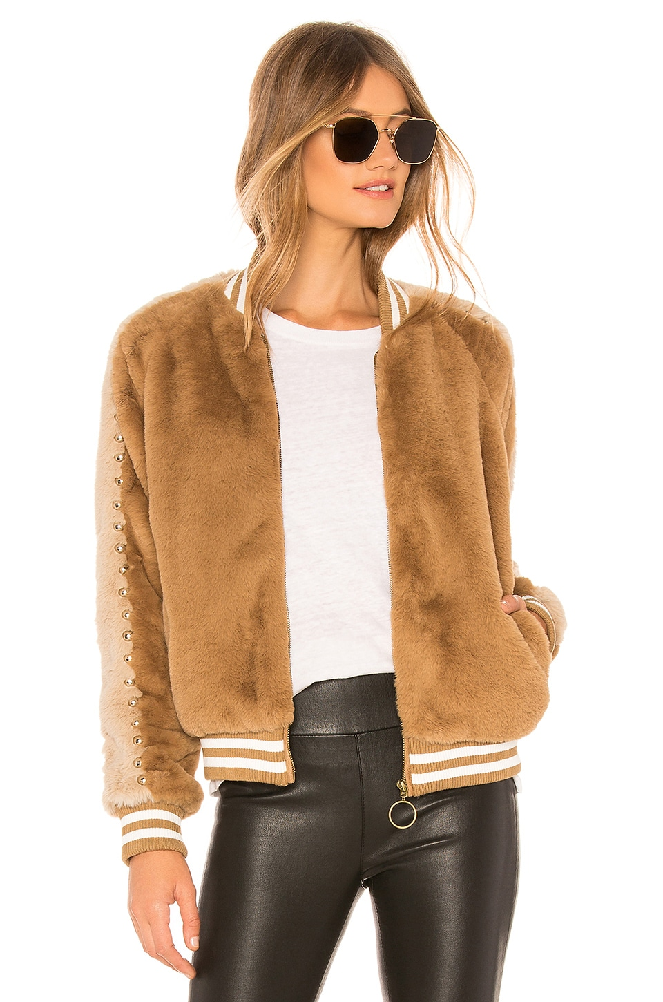 MOTHER The Letterman Faux Fur Jacket in Double Standards