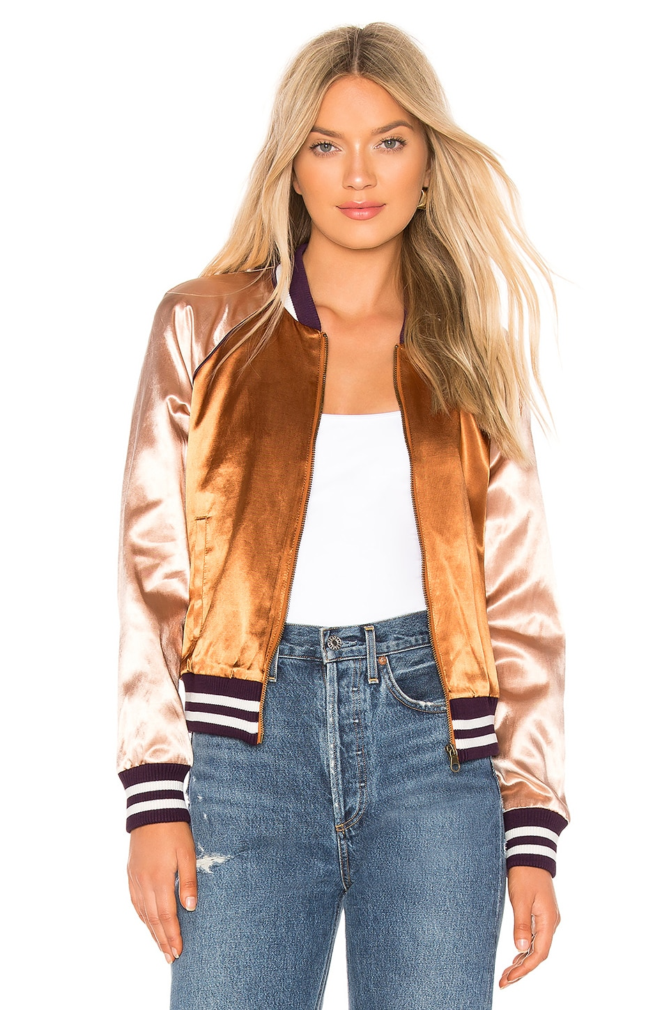 MOTHER The Letterman Zip Jacket in Two Sides Of The Same Coin