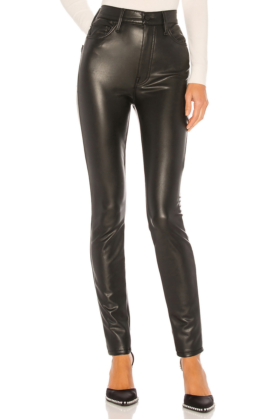 MOTHER The Super Swooner Vegan Leather Pant in Faux Show
