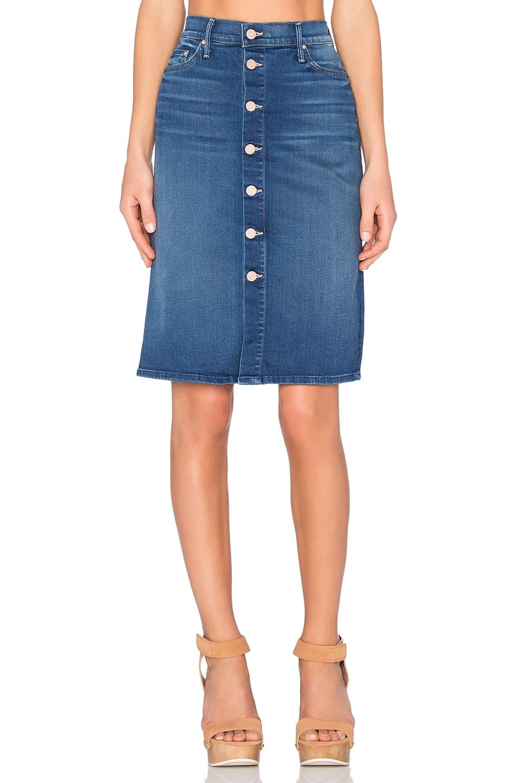 MOTHER High Waist Button Midi Skirt in Blue Moon