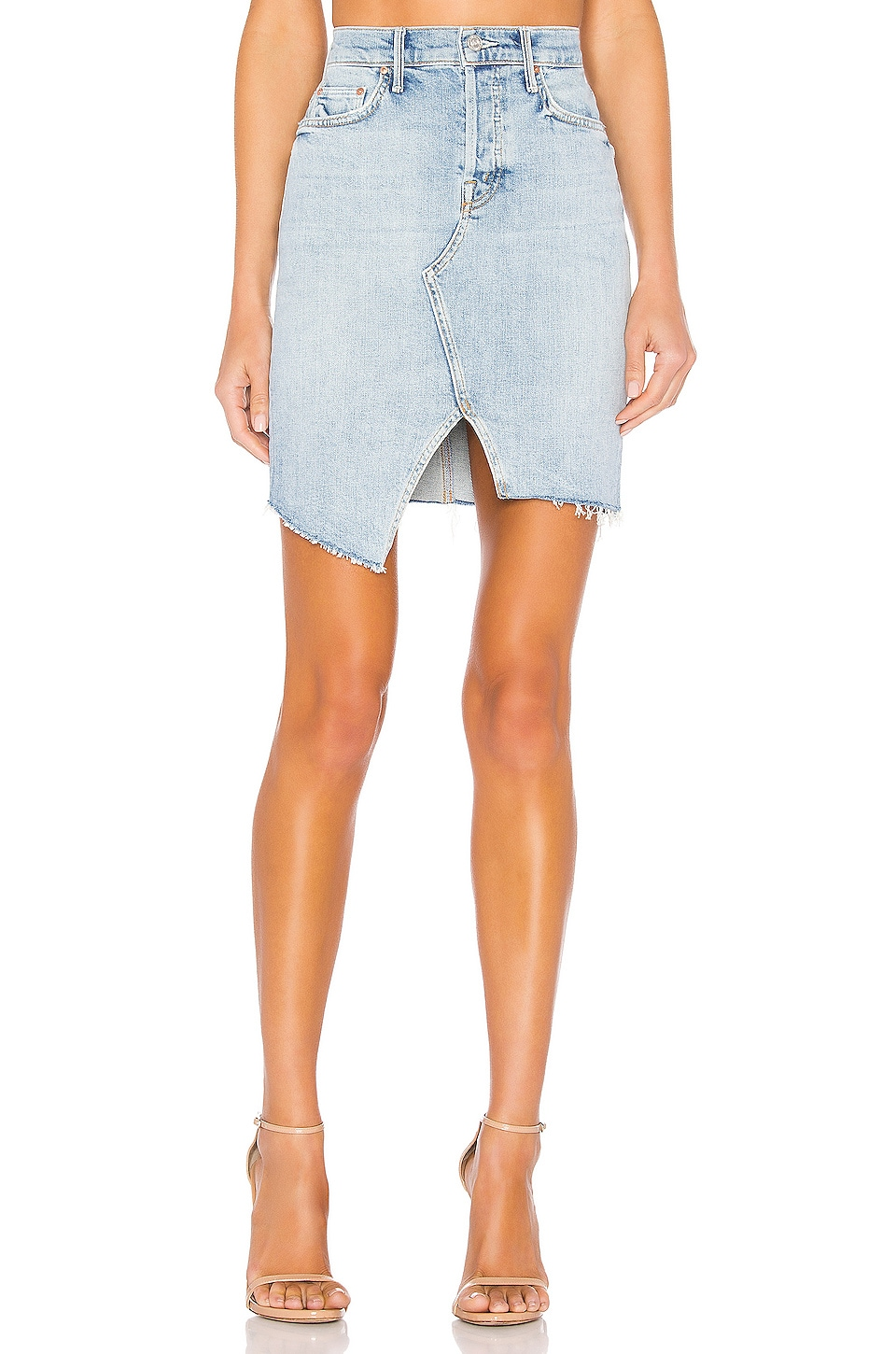 MOTHER The Tomcat Slide Mini Fray Skirt in The Problem With Miracles