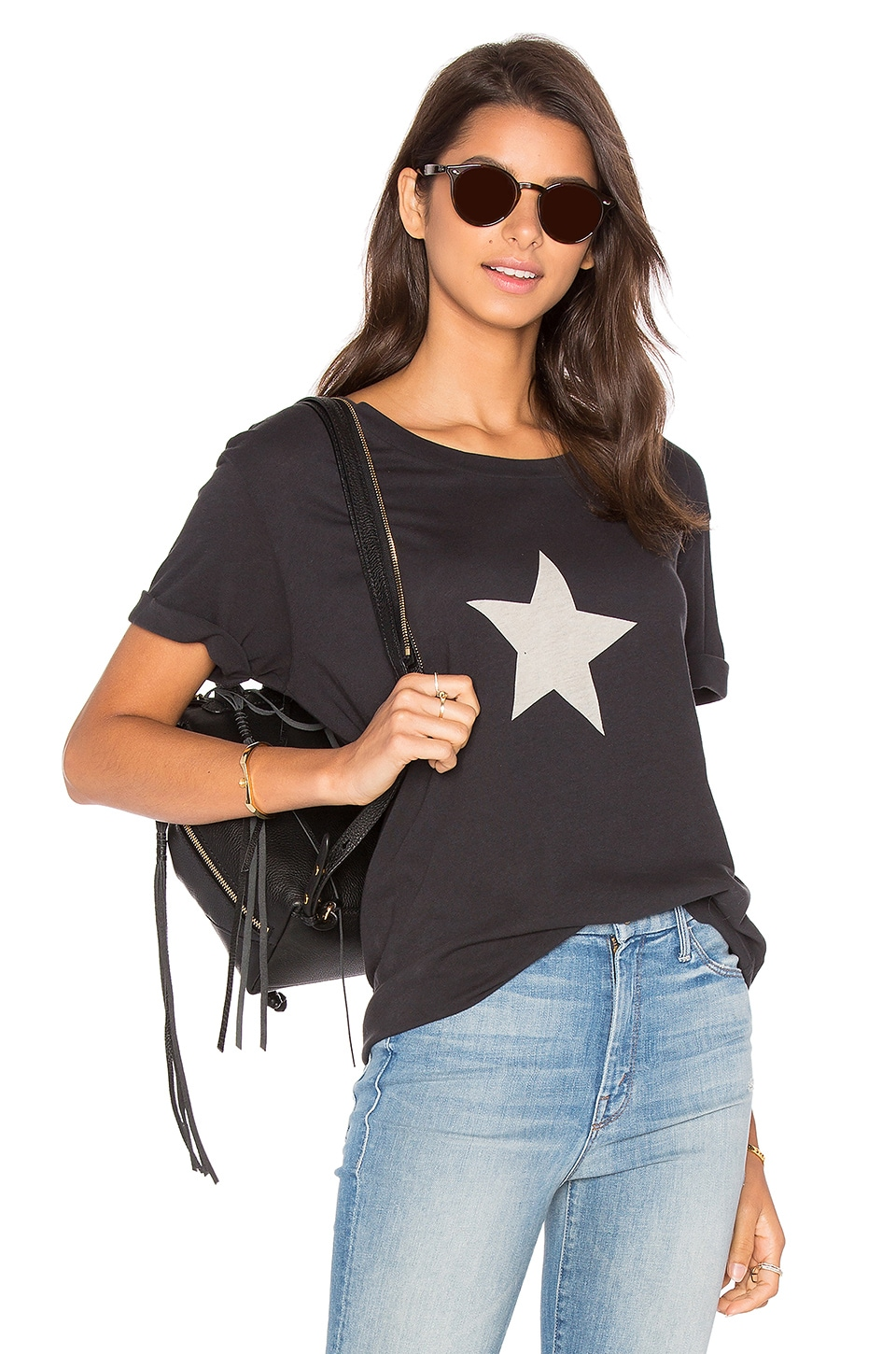 MOTHER The Oversized Goodie Goodie Tee in Star Faded Black