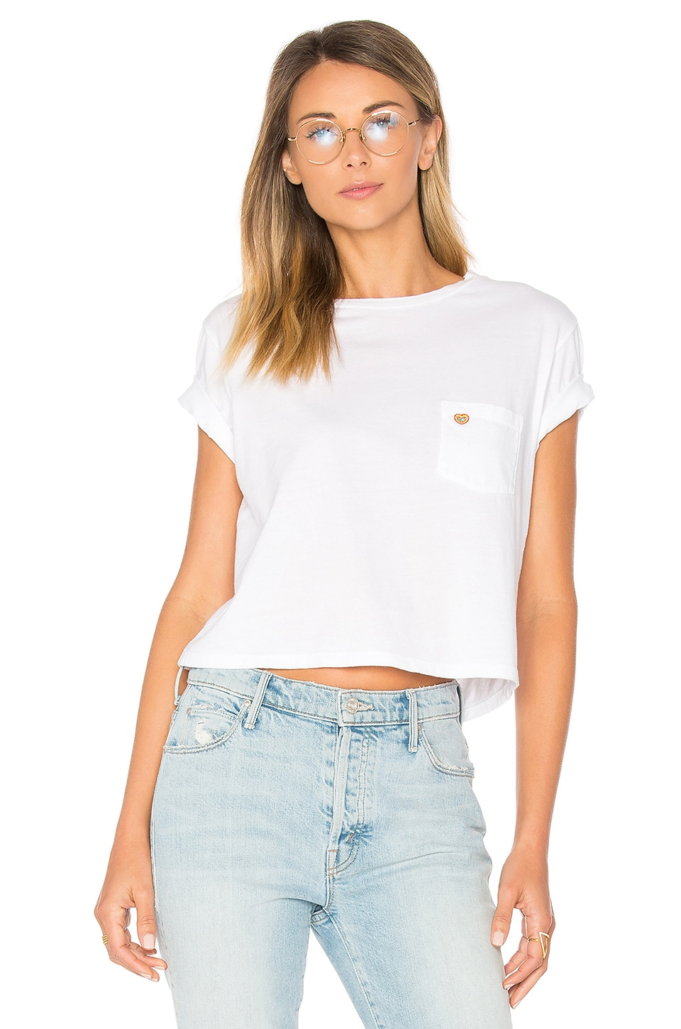 MOTHER T Time Crop Pocket Shirt in White