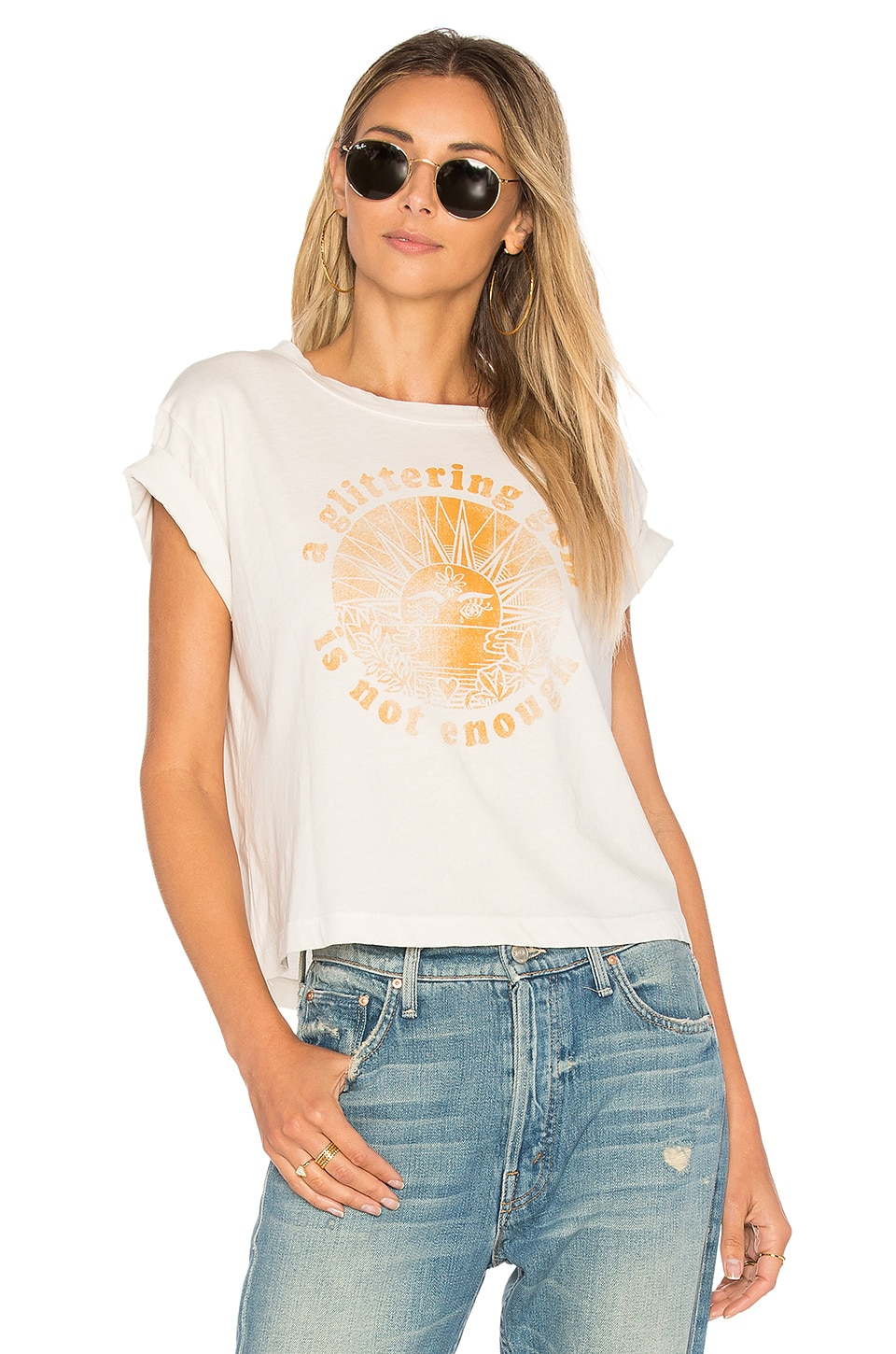 A Glittering Gem Is Not Enough Crop Tee by MOTHER