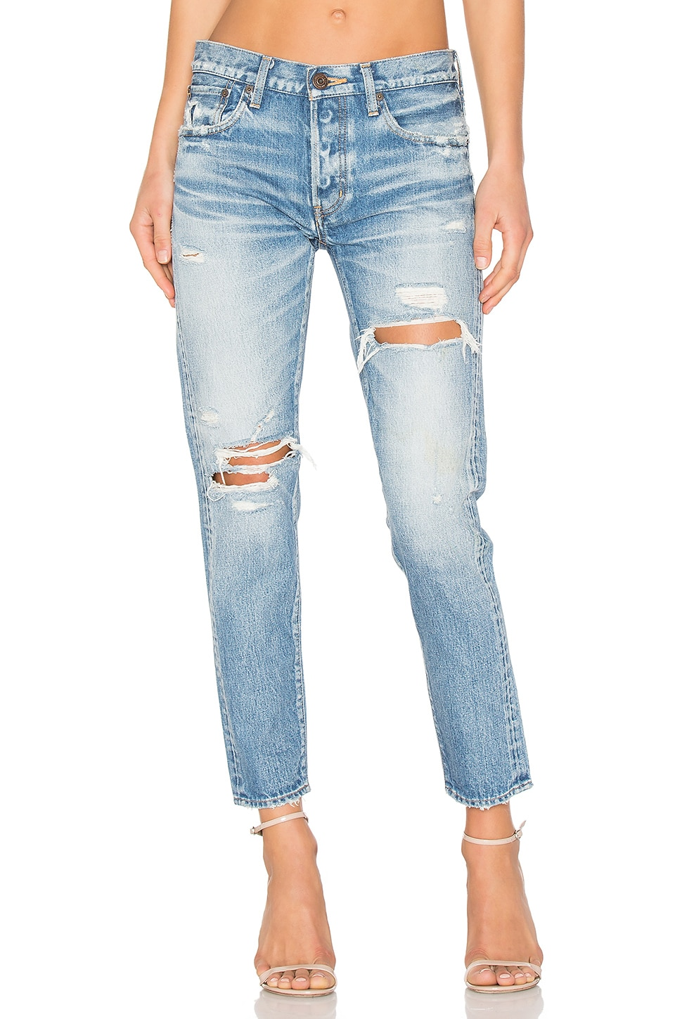 Moussy Bowie Distressed Skinny in Blue