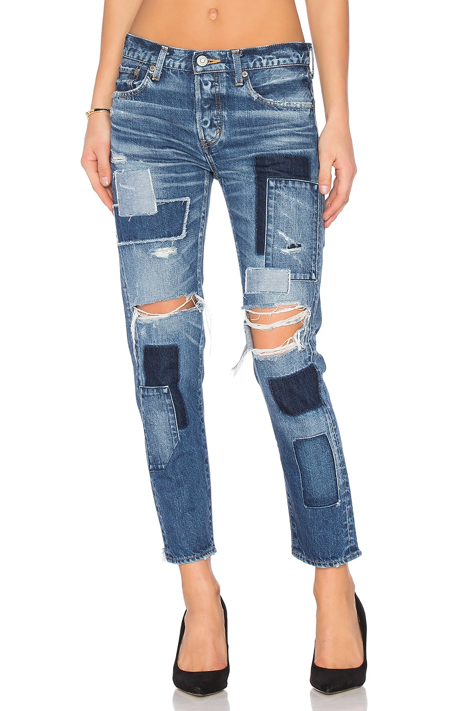 Moussy Vintage Fontana Patched Skinny in Blue