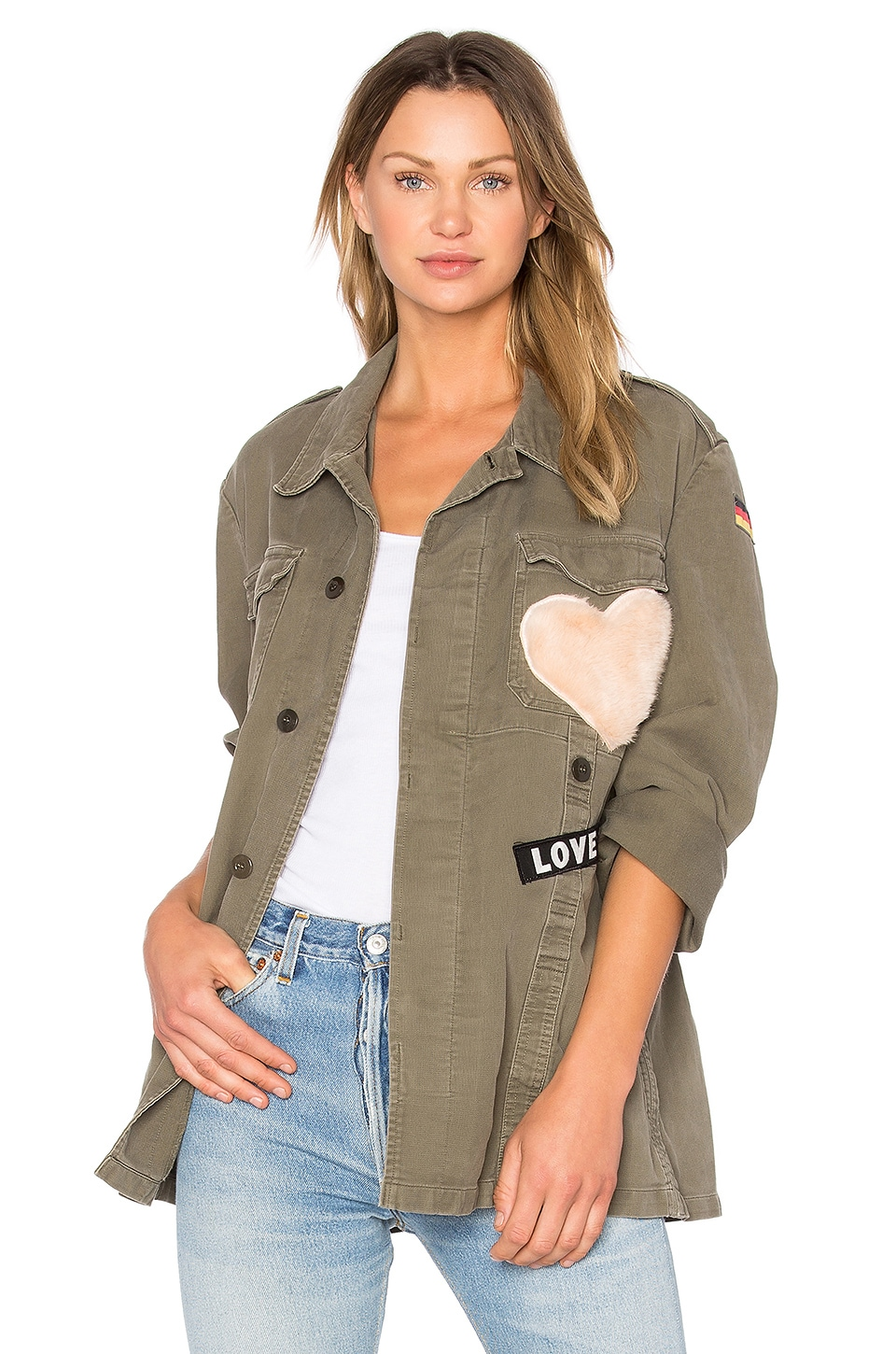 MPD BOX Moleskine Babe Jacket With Stars and Faux Fur Heart in Military