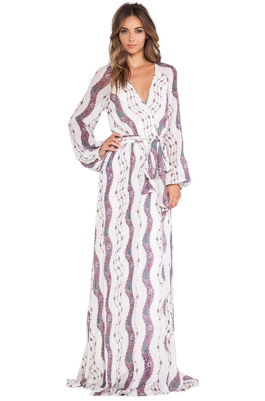 Marchesa Voyage Maxi Wrap Dress in White Stripe