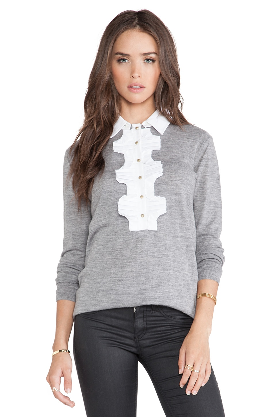 Marchesa Voyage Ruffle Front Top in Heather Gray & White