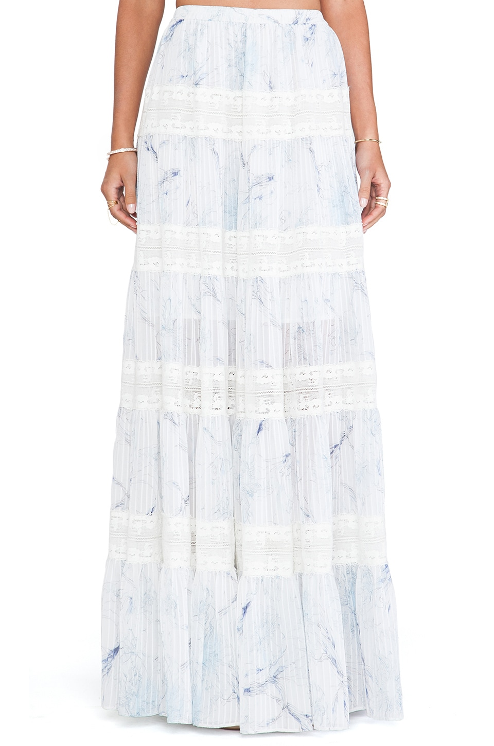 Marchesa Voyage Tiered Maxi Skirt in Day Lily Blue