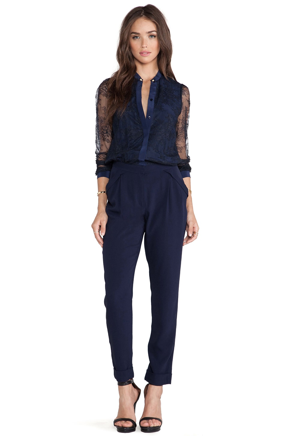 Marchesa Voyage Buttoned Yoke Jumpsuit in French Navy & Black