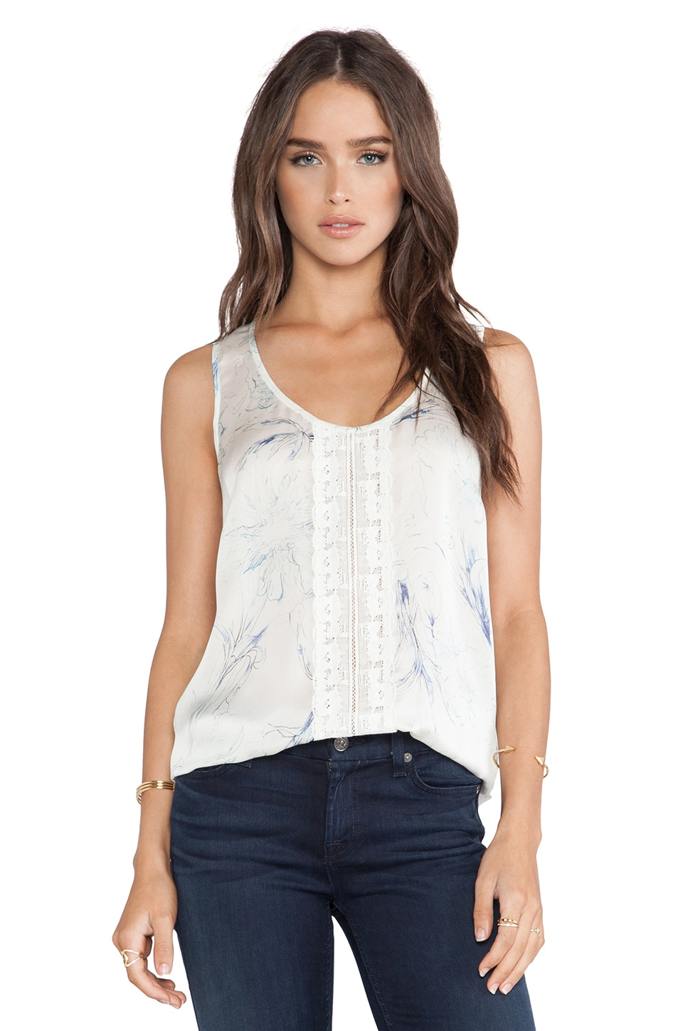 Marchesa Voyage Lace Front Tank in Day Lily Blue