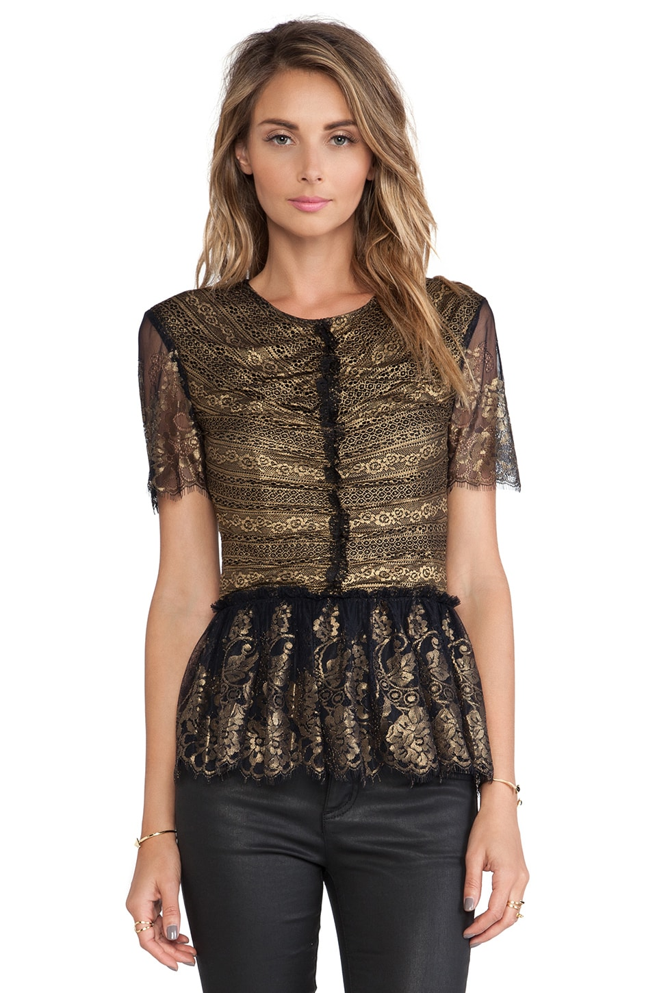 Marchesa Voyage Lace Ruffle Top in Black & Gold