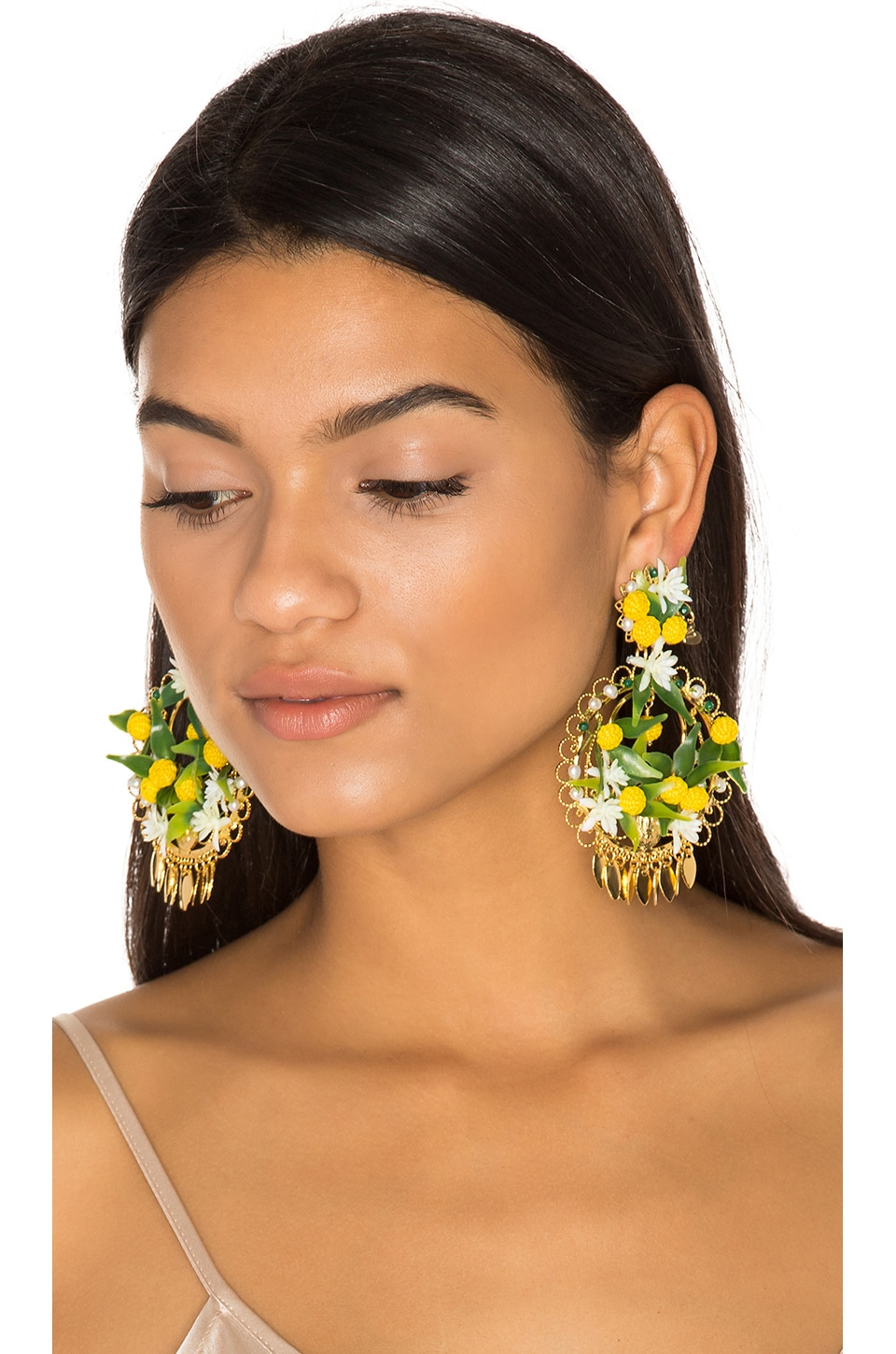 Mercedes Salazar Fiesta Lemon Earrings in Yellow