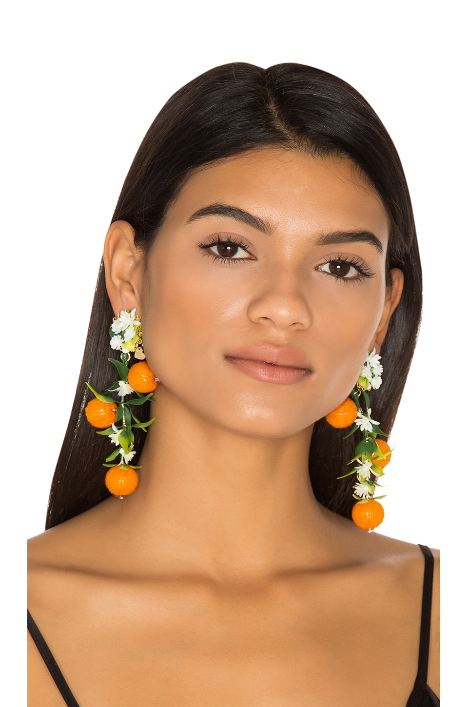 Mercedes Salazar Fiesta Orange Tree Earrings in Orange