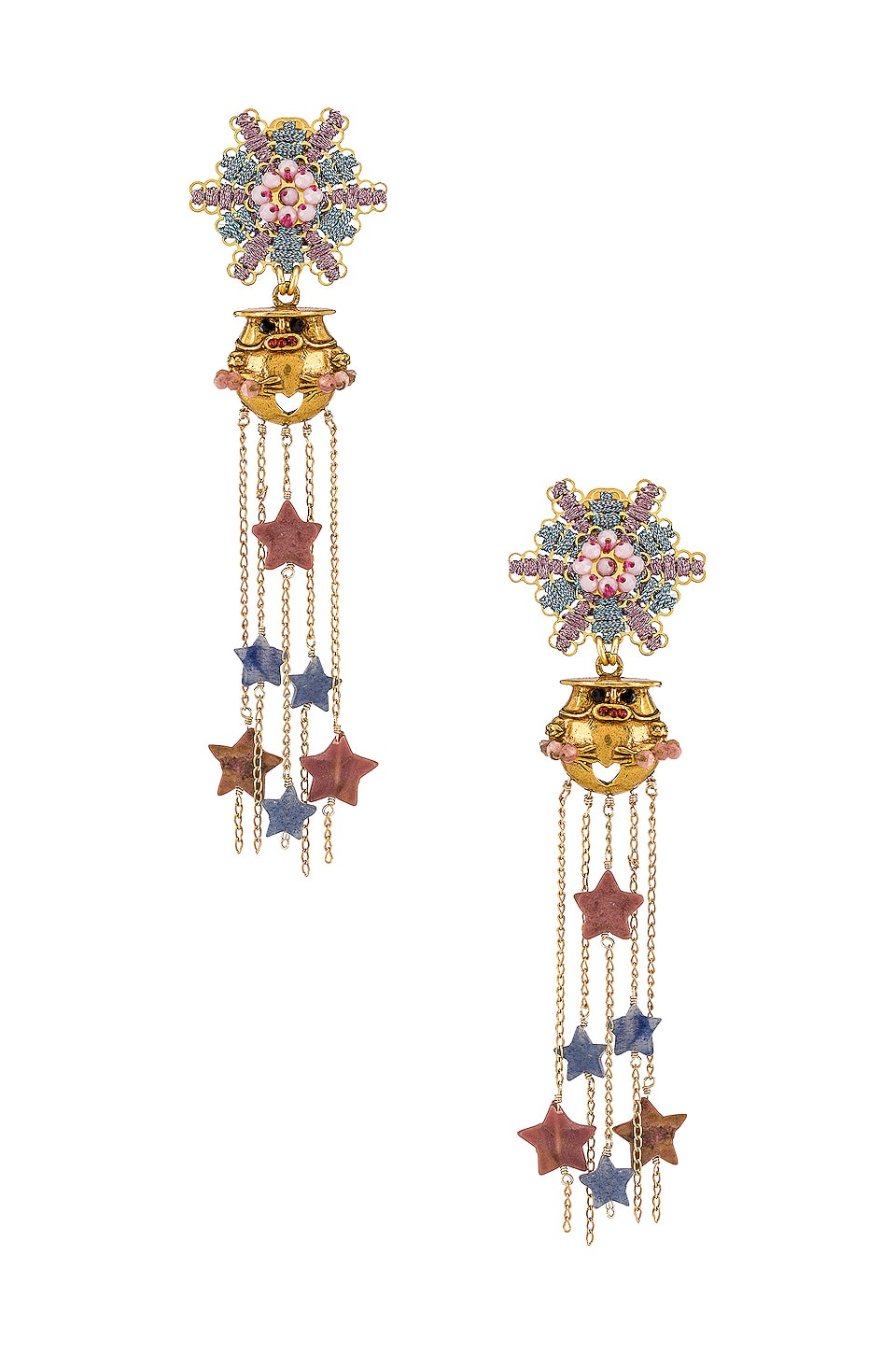 Mercedes Salazar Murcielago Entre Estrellas Rosadas Earrings in Gold