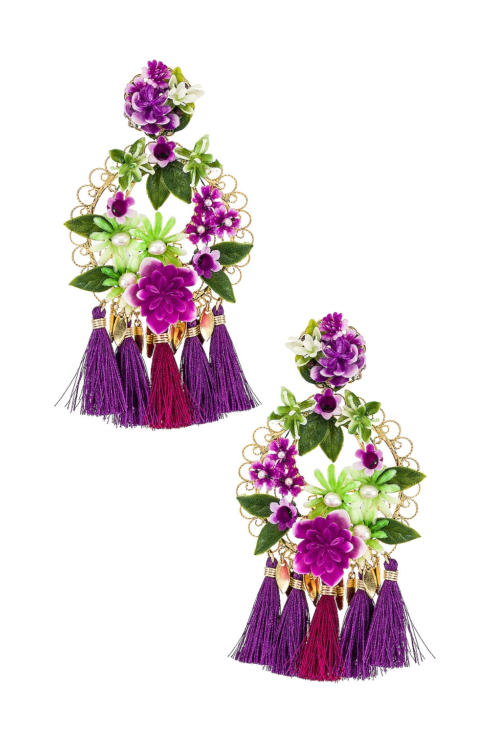 Mercedes Salazar Flower Statement Earrings in Lilac & Gold