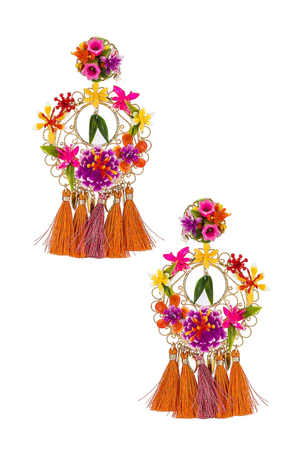 Mercedes Salazar Flower Statement Earrings in Pink & Gold