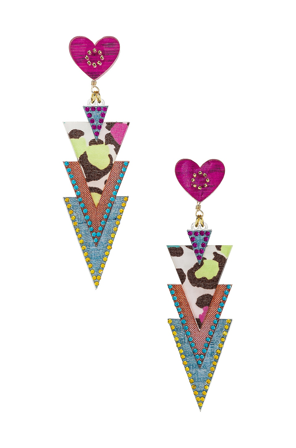 Mercedes Salazar Curubas Petite Earrings in Pink & Blue