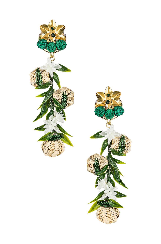Mercedes Salazar Woven Flower Earrings in Multi