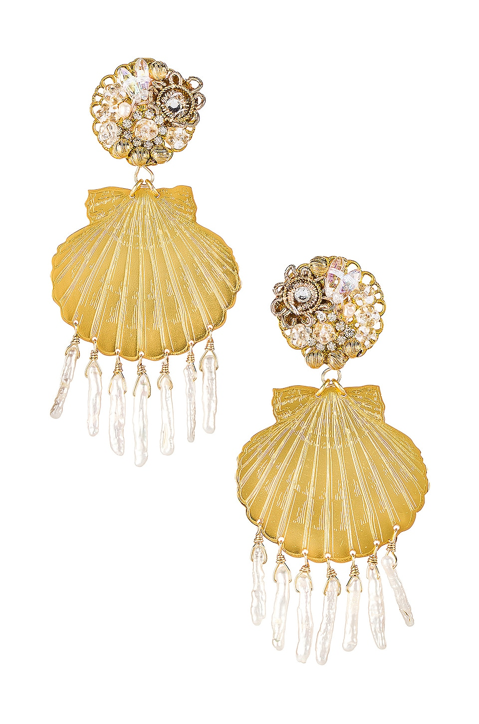 Mercedes Salazar Small Shell Pearl Earrings in Gold