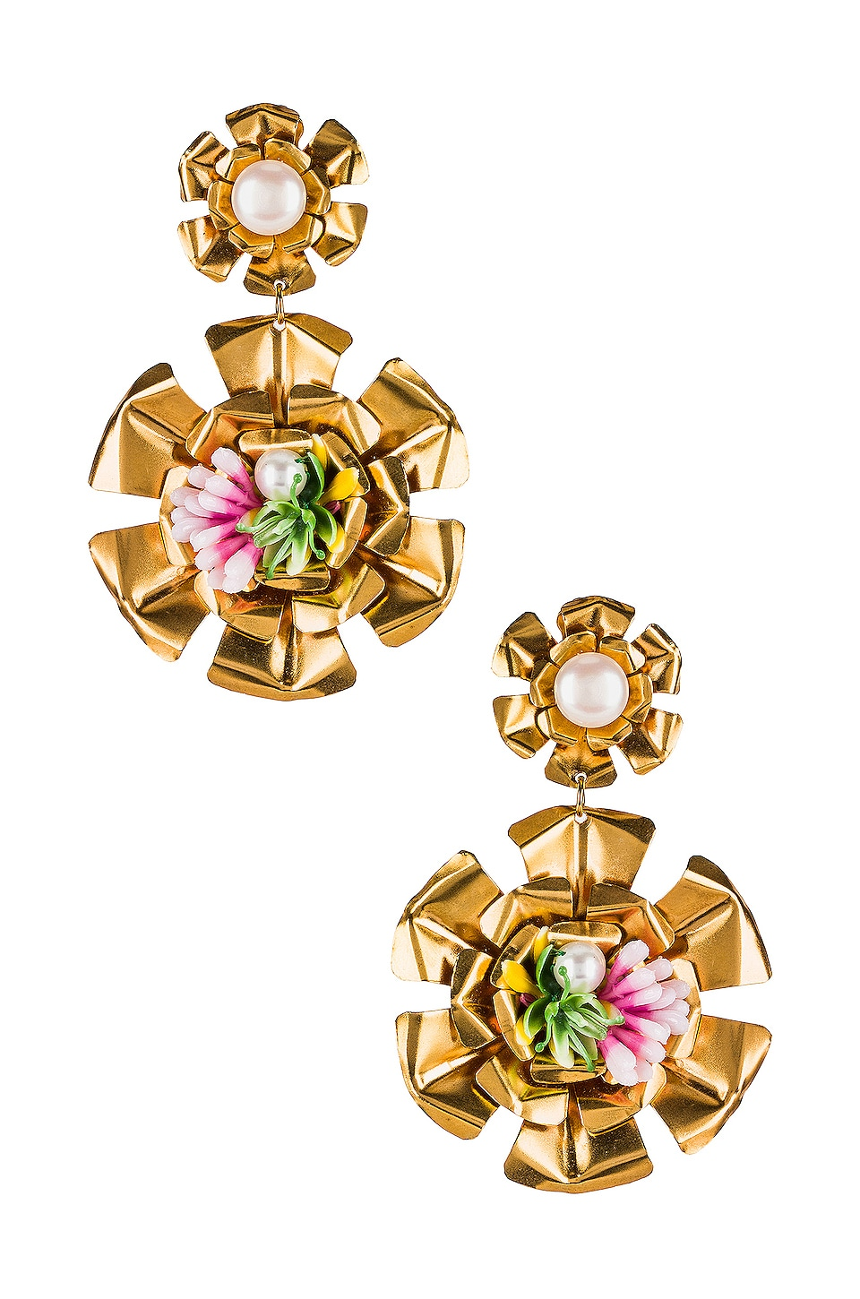 Mercedes Salazar Double Flower Pearl Earrings in Gold