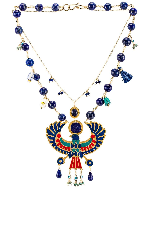 Mercedes Salazar Eagle Pendant Necklace in Blue