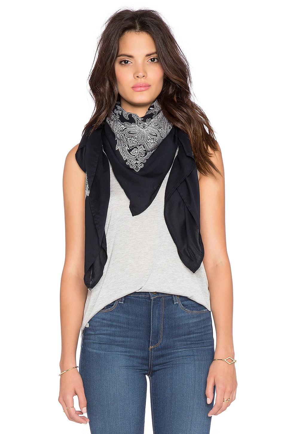 Maison Scotch Bandana Scarf in Navy