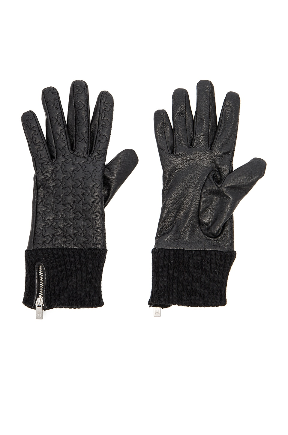 Leather Rib Cuff Gloves by Maison Scotch