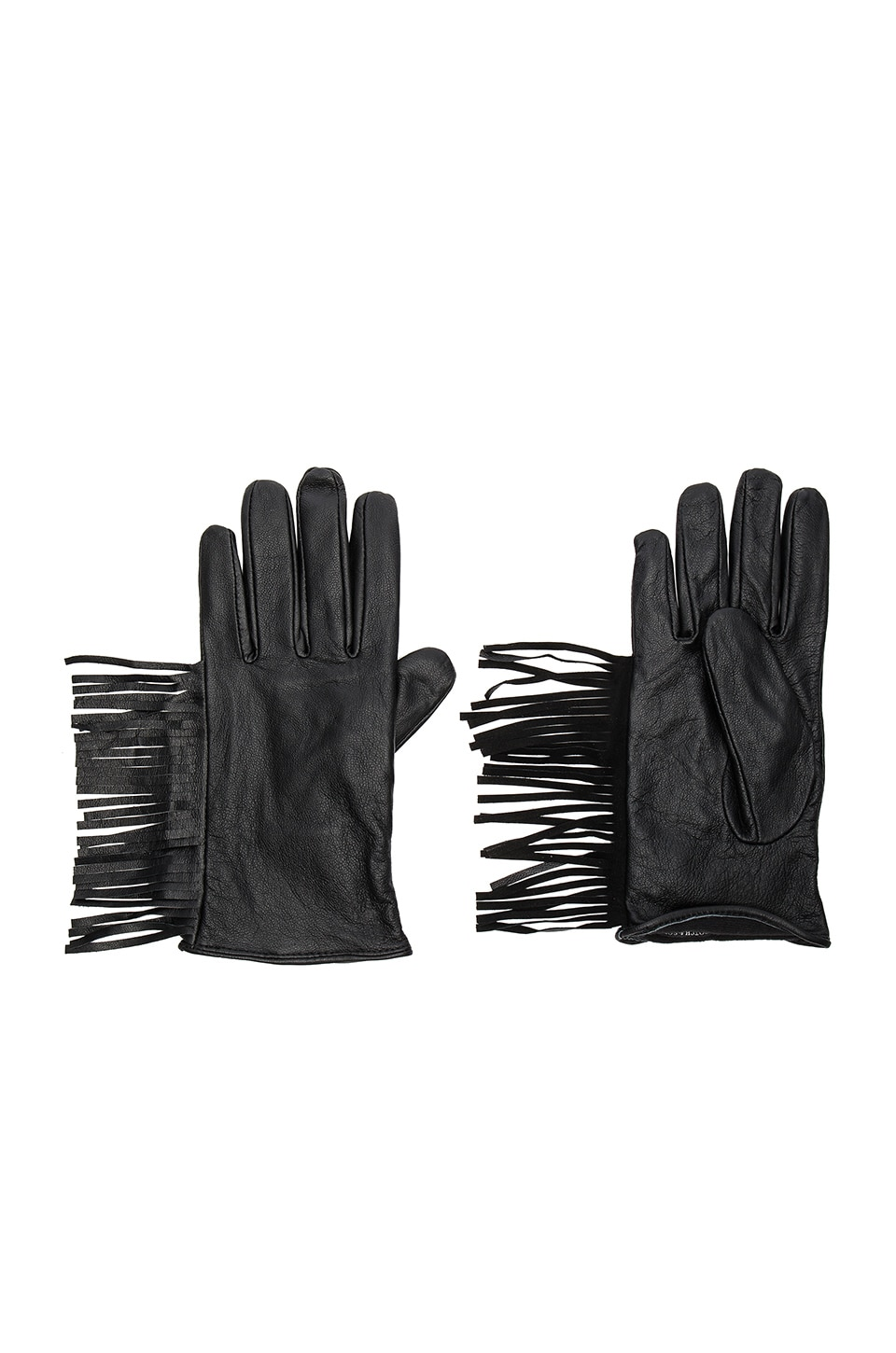 Leather Fringe Gloves by Maison Scotch