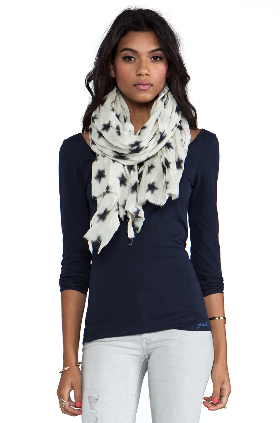Maison Scotch Star Scarf in White/ Black