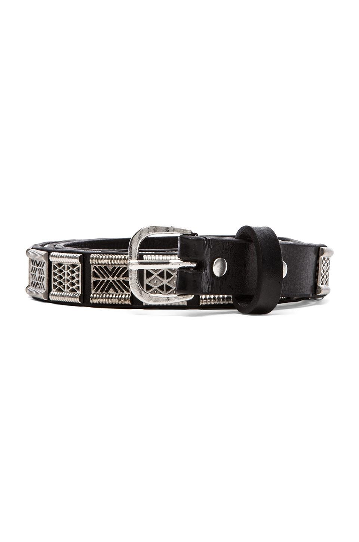 Maison Scotch Metal Detail Belt in Black