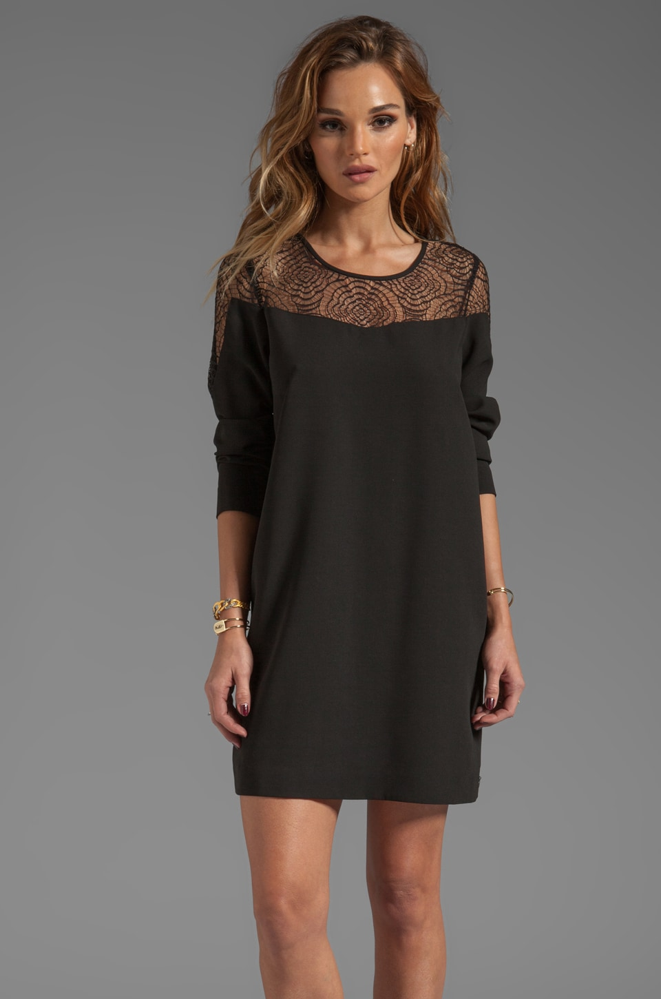 Maison Scotch Long Sleeve Lace Dress in Black