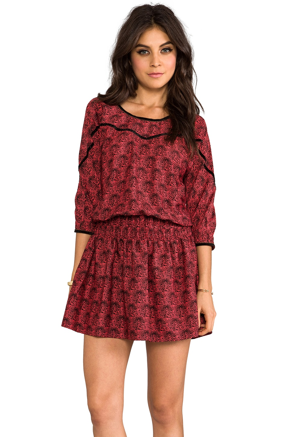 Maison Scotch Leopard Long Sleeve Mini Dress in Red