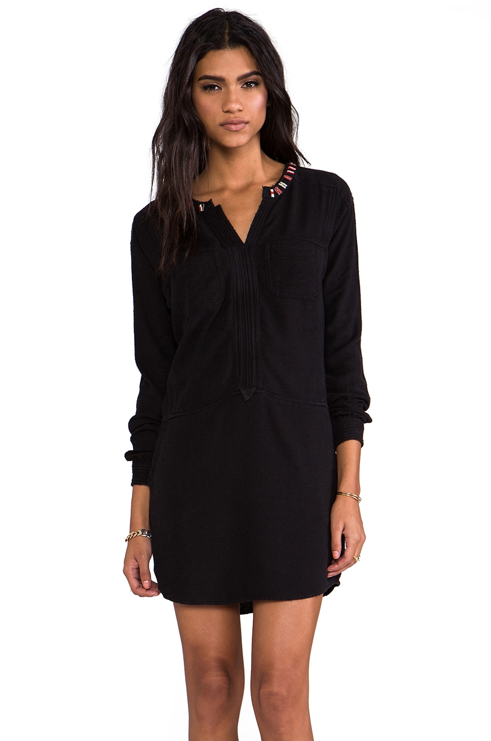 Maison Scotch Long Sleeve Mini Dress with Embellished Collar in Black