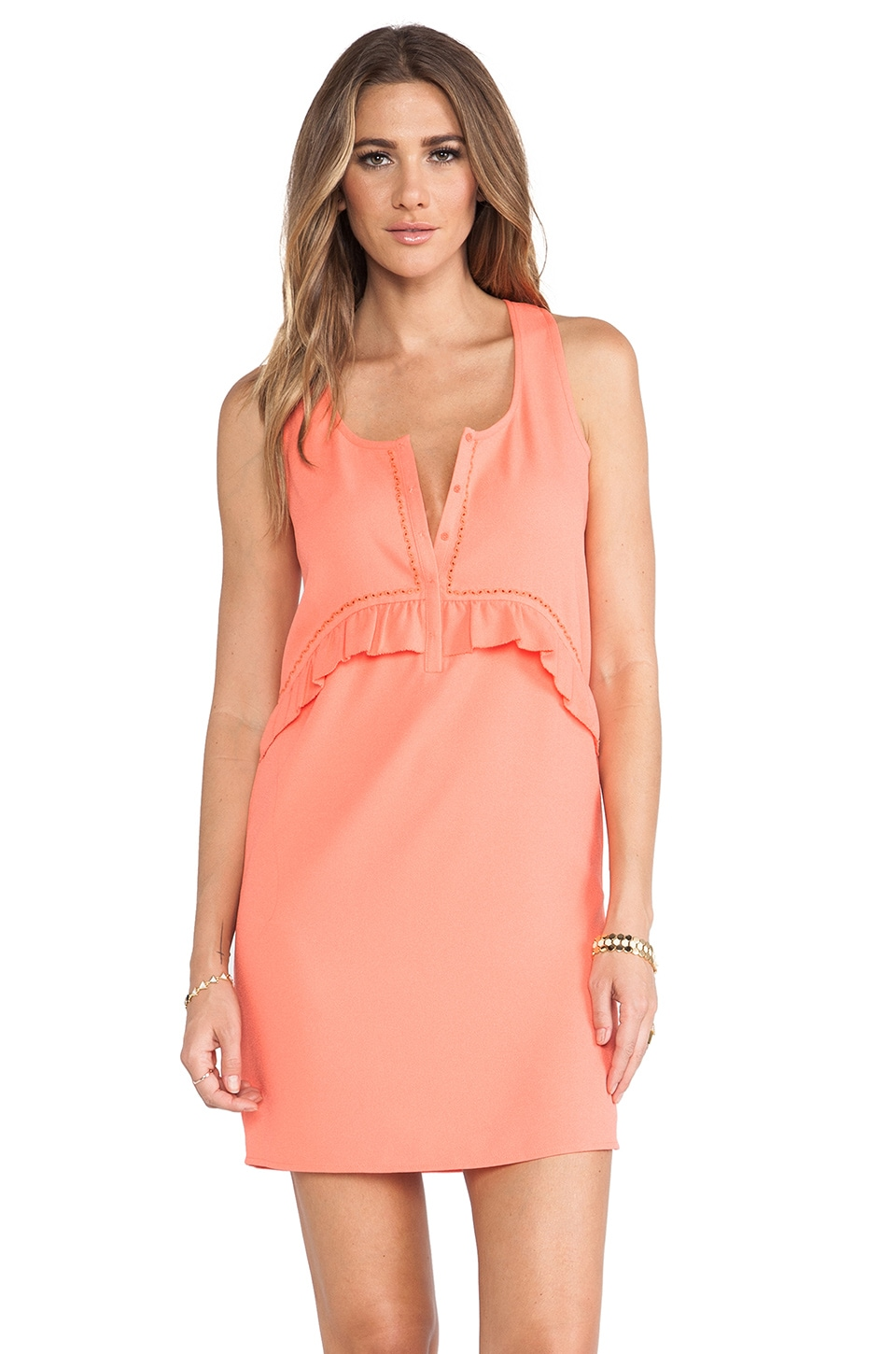 Maison Scotch Ruffle Dress in Coral